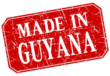 guyana: made in Guyana red square grunge stamp Illustration