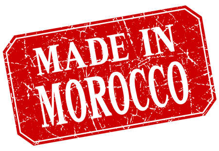 made in morocco: made in Morocco red square grunge stamp Illustration