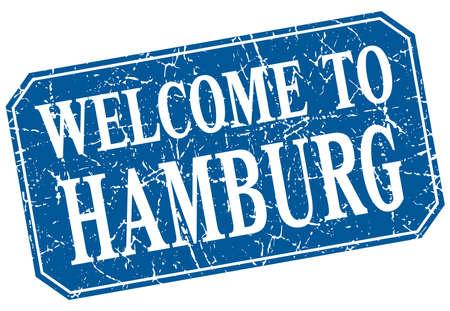 hamburg: welcome to Hamburg blue square grunge stamp