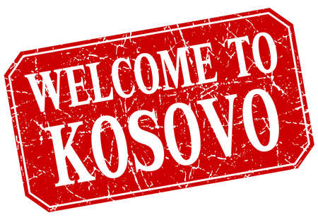 kosovo: welcome to Kosovo red square grunge stamp Illustration