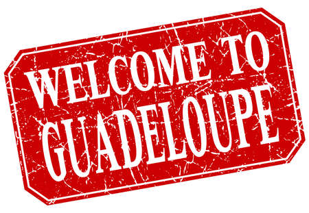 guadeloupe: welcome to Guadeloupe red square grunge stamp