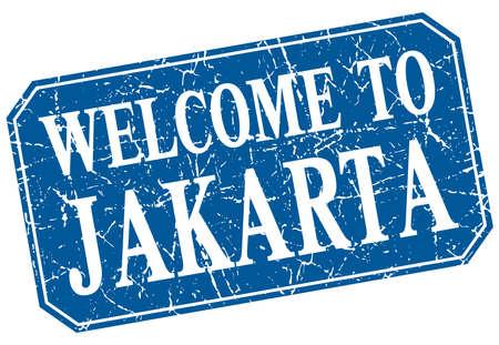 jakarta: welcome to Jakarta blue square grunge stamp