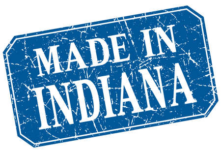 indiana: made in Indiana blue square grunge stamp Illustration