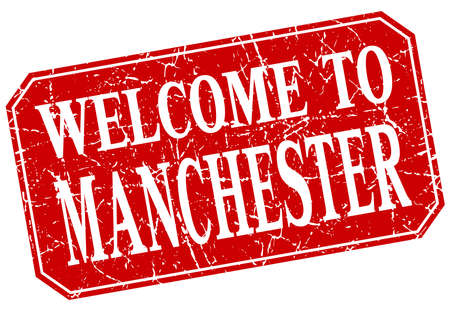 manchester: welcome to Manchester red square grunge stamp