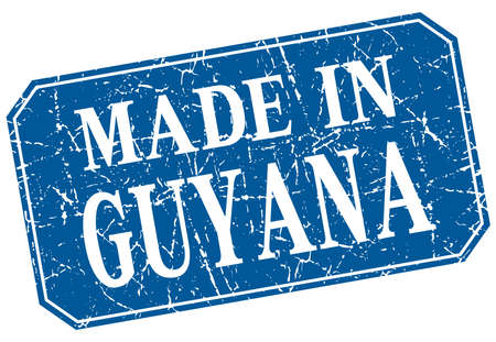 guyana: made in Guyana blue square grunge stamp