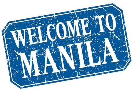 manila: welcome to Manila blue square grunge stamp