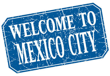 mexico city: welcome to Mexico City blue square grunge stamp
