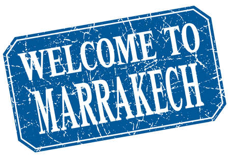 marrakech: welcome to Marrakech blue square grunge stamp Illustration