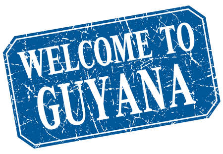 guyana: welcome to Guyana blue square grunge stamp