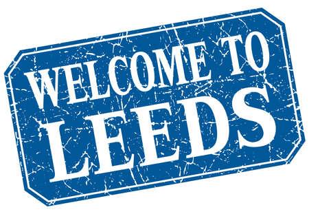 leeds: welcome to Leeds blue square grunge stamp Illustration