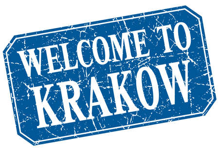 krakow: welcome to Krakow blue square grunge stamp