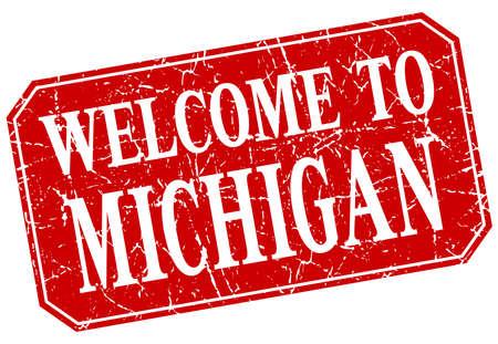 michigan: welcome to Michigan red square grunge stamp