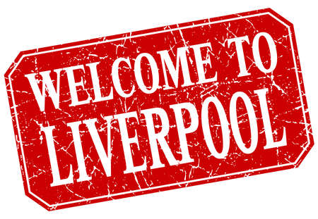 liverpool: welcome to Liverpool red square grunge stamp Illustration