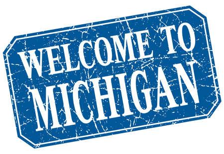 michigan: welcome to Michigan blue square grunge stamp