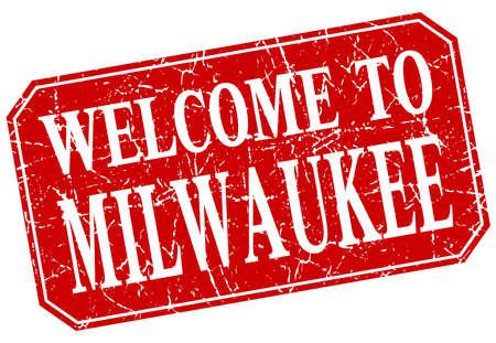 Milwaukee: welcome to Milwaukee red square grunge stamp