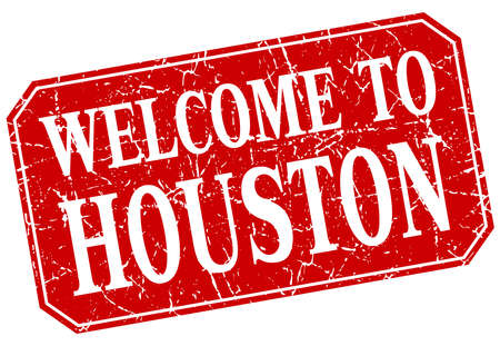houston: welcome to Houston red square grunge stamp Illustration