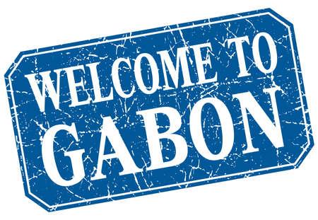 gabon: welcome to Gabon blue square grunge stamp Illustration