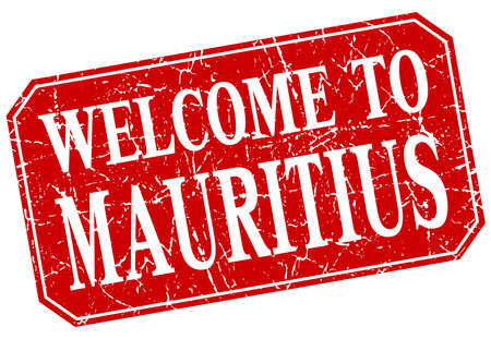 mauritius: welcome to Mauritius red square grunge stamp
