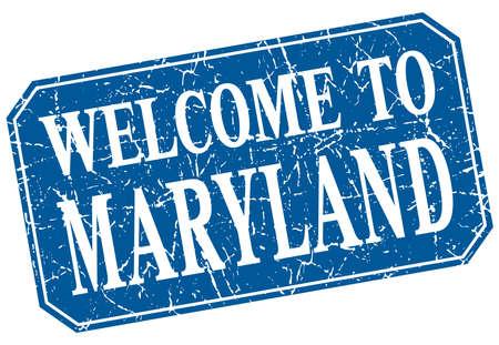 maryland: welcome to Maryland blue square grunge stamp Illustration