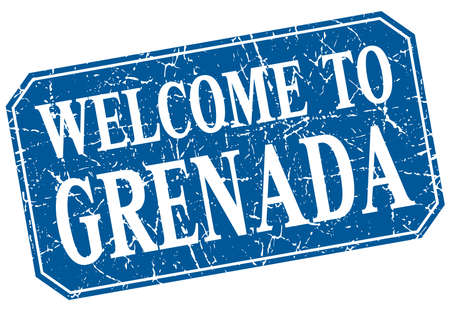 grenada: welcome to Grenada blue square grunge stamp Illustration