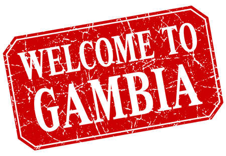 gambia: welcome to Gambia red square grunge stamp