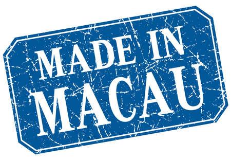 macau: made in Macau blue square grunge stamp