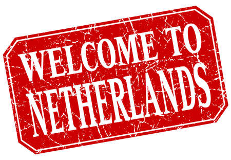 the netherlands: welcome to Netherlands red square grunge stamp Illustration