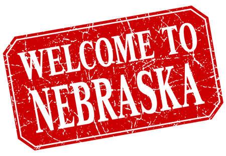 nebraska: welcome to Nebraska red square grunge stamp Illustration