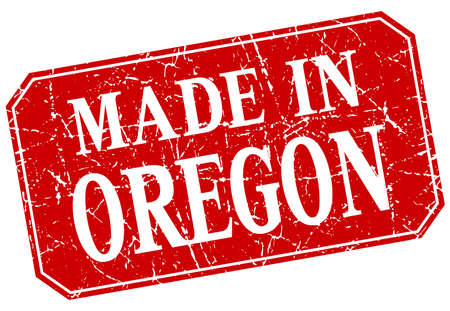 oregon: made in Oregon red square grunge stamp
