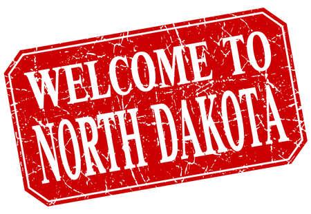 north dakota: welcome to North Dakota red square grunge stamp