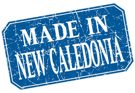 new caledonia: made in New Caledonia blue square grunge stamp Illustration