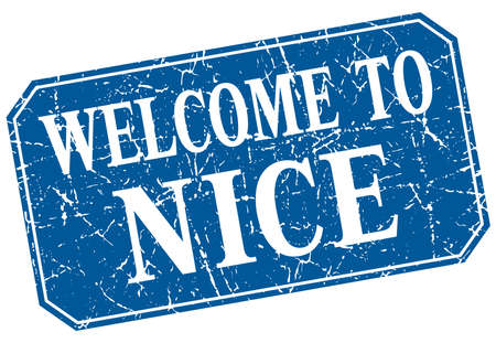 nice: welcome to Nice blue square grunge stamp