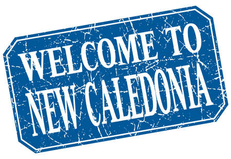 new caledonia: welcome to New Caledonia blue square grunge stamp Illustration