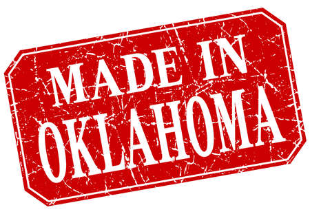 oklahoma: made in Oklahoma red square grunge stamp