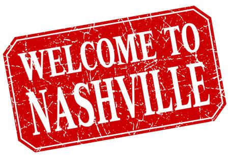 nashville: welcome to Nashville red square grunge stamp