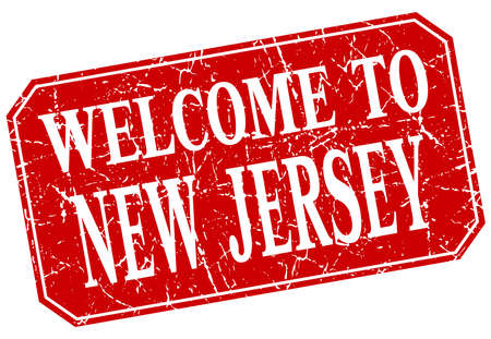 new jersey: welcome to New Jersey red square grunge stamp