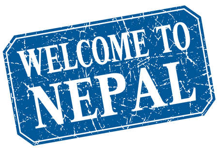 nepal: welcome to Nepal blue square grunge stamp Illustration