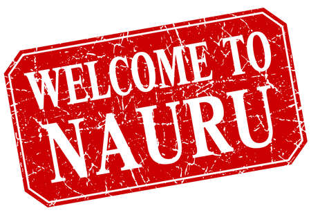 nauru: welcome to Nauru red square grunge stamp Illustration