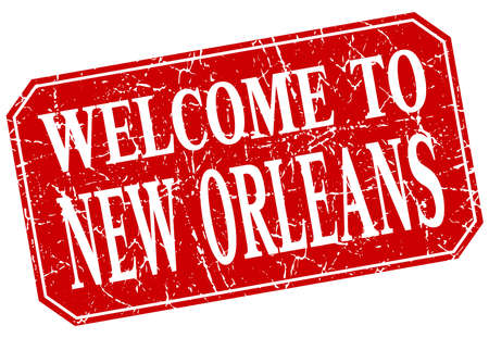 new orleans: welcome to New Orleans red square grunge stamp