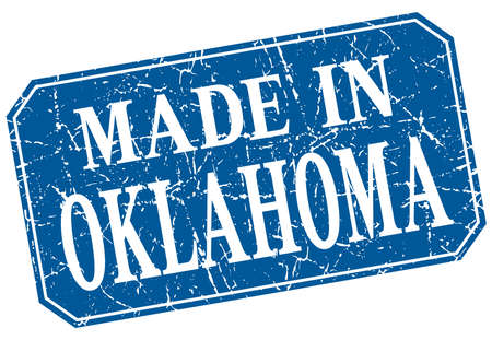 oklahoma: made in Oklahoma blue square grunge stamp