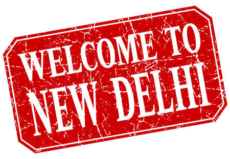 new delhi: welcome to New Delhi red square grunge stamp