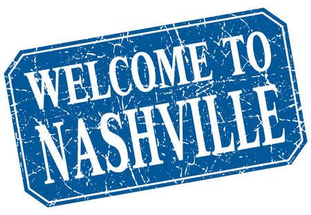 nashville: welcome to Nashville blue square grunge stamp