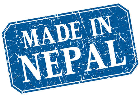 nepal: made in Nepal blue square grunge stamp