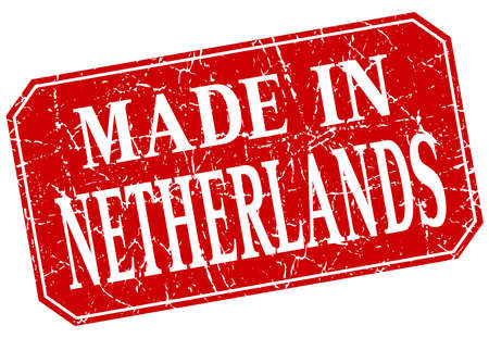 the netherlands: made in Netherlands red square grunge stamp Illustration