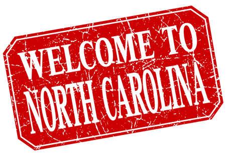 north carolina: welcome to North Carolina red square grunge stamp
