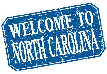 north carolina: welcome to North Carolina blue square grunge stamp
