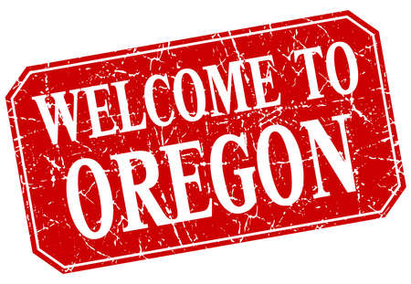 oregon: welcome to Oregon red square grunge stamp Illustration