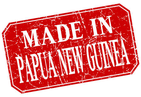 papua: made in Papua New Guinea red square grunge stamp Illustration