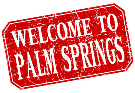 palm springs: welcome to Palm Springs red square grunge stamp