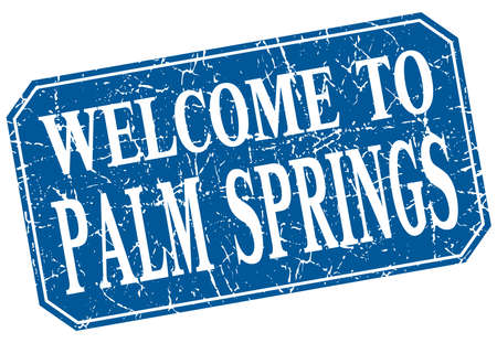 springs: welcome to Palm Springs blue square grunge stamp